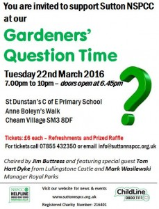Sutton NSPCC Gardeners' Question Time @ St Dunstan's Primary School | Sutton | United Kingdom